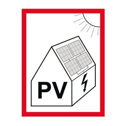 Hinweisschild über das Vorhandensein einer Photovoltaikanlage